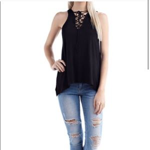 Black High Neck Lace Up Tunic Top